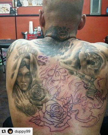 puttin in more work on the back piece.